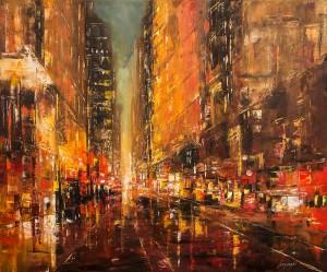 obrazy olejne na sprzedaż - Red city