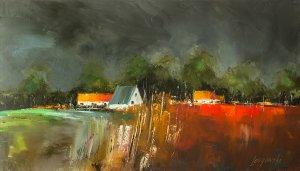obrazy olejne na sprzedaż - Kolorowa wioska
