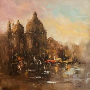 obrazy olejne na sprzedaż - Miasto na wodzie