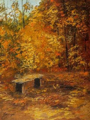 obrazy olejne na sprzedaż - Jesień w parku