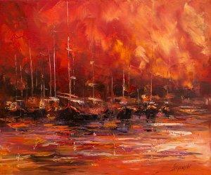obrazy olejne na sprzedaż - Zachód nad zatoką
