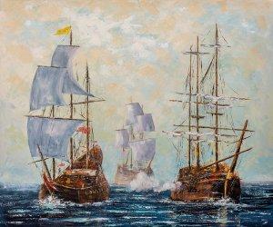 obrazy olejne na sprzedaż - Bitwy morskie