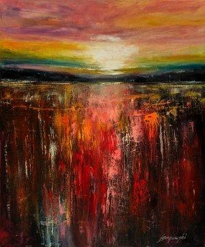 obrazy olejne na sprzedaż - Zachód słońca- abstrakcja